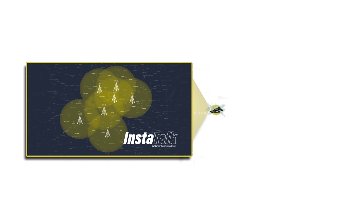 InstaTalk coverage zone with US map